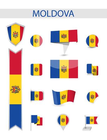 Moldova Flag Collection. Flat flags vector illustration.
