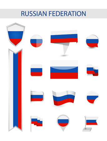 Russia Flag Collection. Flat flags vector illustration. Ilustrace