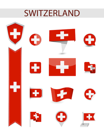 Switzerland Flag Collection. Flat flags vector illustration.