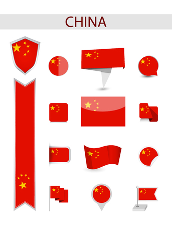 China Flag Collection. Flat flags vector illustration.