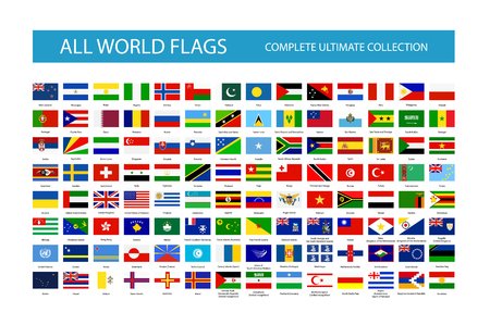 Alle Vektor-Welt-Landesflaggen. Teil 2. Alle Flaggen sind nach Ebenen organisiert, wobei sich jede Flagge auf einer einzelnen Ebene mit dem richtigen Namen befindet.