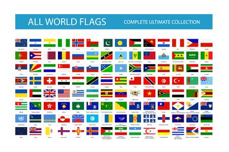 Wszystkie flagi państw świata wektor. Część 2. Wszystkie flagi są zorganizowane według warstw, przy czym każda flaga na jednej warstwie jest odpowiednio nazwana.
