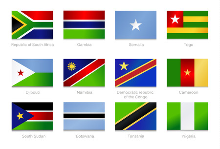African Flags. Collection part 2. Vector illustration. Standard-Bild - 113890362