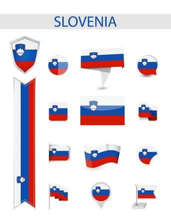 Slovenia Flag Collection. Flat flags vector illustration.