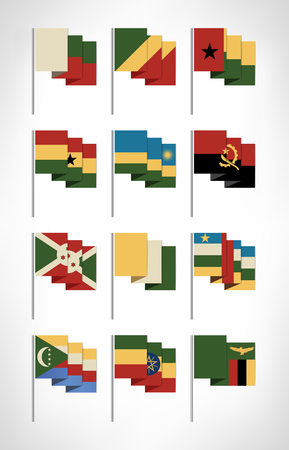 Africa flags set. Cartoon flat design with vintage colors 3. Vector illustration.