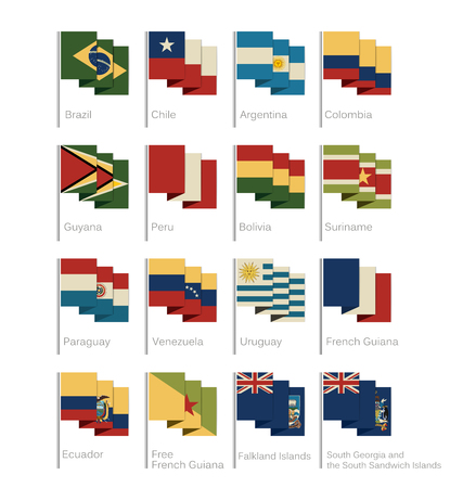 South America flags set of all continent countries and overseas territories.Flat Cartoon Style.Vintage Colors.