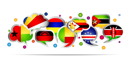 Africa countries bubble speech shapes. Set 5. Vector illustration.