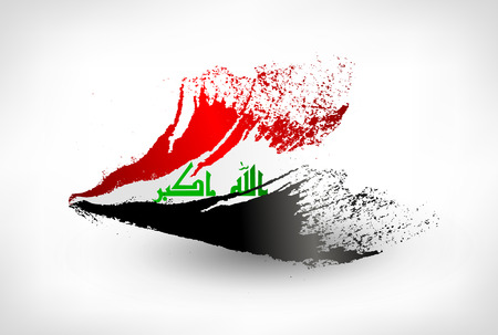 Brush painted flag of Iraq. Hand drawn style illustration with a grunge effect. Vectores