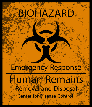 Biohazard Human Remains Sign and Grunge Texture