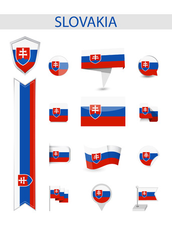 Slovakia Flag Collection. Flat flags vector illustration.