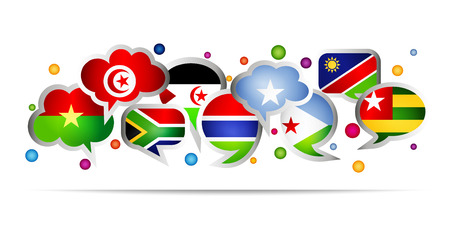 Africa countries bubble speech shapes. Set 2. Vector illustration.