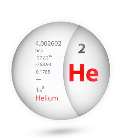 Icono de helio en estilo insignia. Elemento de tabla periódica Icono de helio. Uno de los íconos de colección de signos químicos se puede utilizar para UI / UX sobre fondo blanco. Ilustración de vector