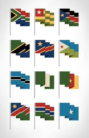 Africa flags set. Cartoon flat design 2. Vector illustration. Ilustração