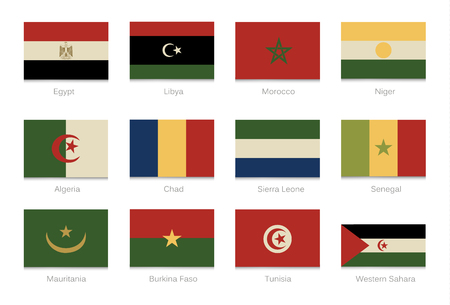 African flags with vintage colors. Part 1. Vector illustration.