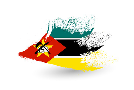 Hand drawn style flag of Mozambique. Brush painted illustration with a grunge effect.
