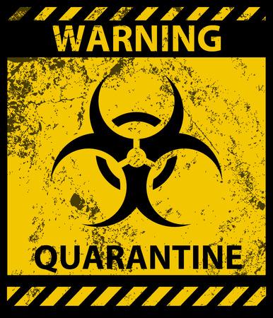 Cartel de cuarentena de advertencia de riesgo biológico y textura grunge
