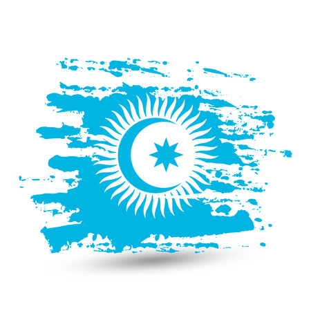 Grunge brush stroke with Turkic Council national flag. Watercolor painting flag, poster, banner of the national flag. Vector isolated on white background. 일러스트