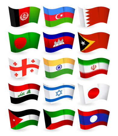 Asia country flying flags set part 1.All elements are separated in editable layers clearly labeled.