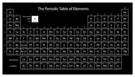 Periodic table of elements. Black color. Vector illustration.