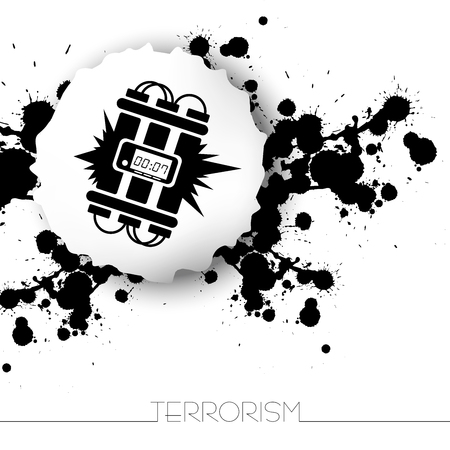 Danger warning terrorism background with abstract blots and bomb(dynamite) icon.