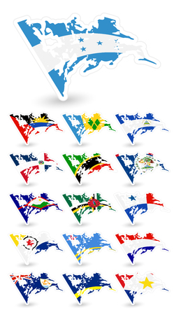 Bad condition flags of North America Set 2.Vector flags collection.