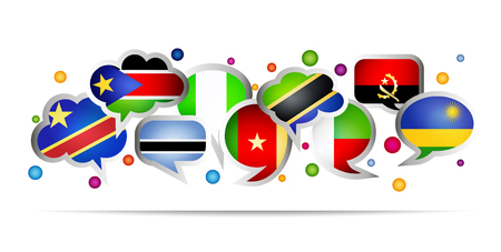 Africa countries bubble speech shapes. Set 3. Vector illustration.