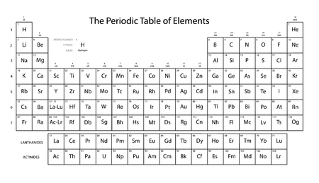 Periodic table of elements. Black and white colors. Vector illustration. Фото со стока - 113890373