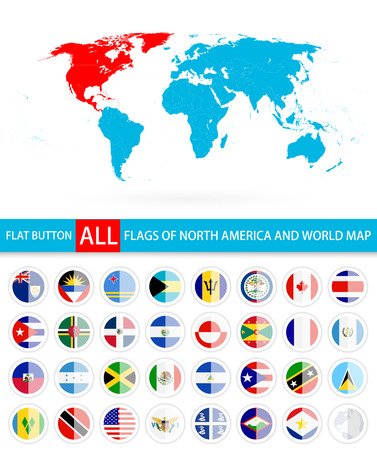 Flat Round Flags Of North America Complete Set and World Map. Flag set in alphabetical order.All elements are separated in editable layers clearly labeled.  イラスト・ベクター素材