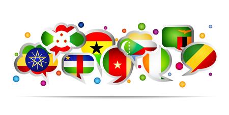 Africa countries bubble speech shapes. Set 4. Vector illustration. Ilustração