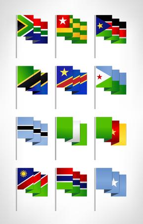 Africa flags set. Cartoon flat design 2. Vector illustration.