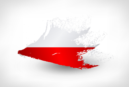 Brush painted flag of Poland. Hand drawn style illustration with a grunge effect. Vettoriali