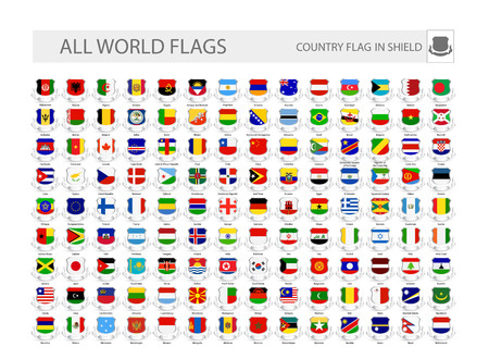 World Flags In Shields. Part 1.All flags are organized by layers with each flag on a single layer properly named.
