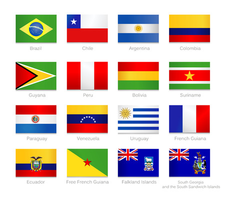South America flags set of all continent countries and overseas territories.