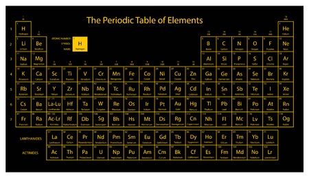 Periodic table of elements. Black and yellow colors. Vector illustration. Vettoriali