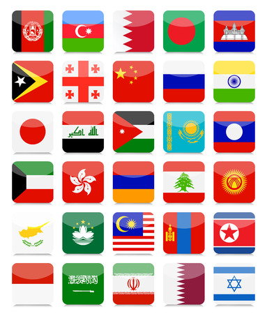 Asian Flags Flat Square Icon Set.All elements are separated in editable layers clearly labeled.