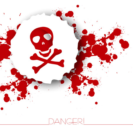 Danger warning background with abstract blots and skull with bones.Red and white.