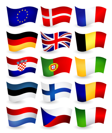 European Union country flying flags part 1.All elements are separated in editable layers clearly labeled.  イラスト・ベクター素材
