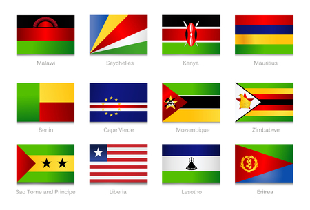 African Flags. Collection part 4. Vector illustration. Illustration