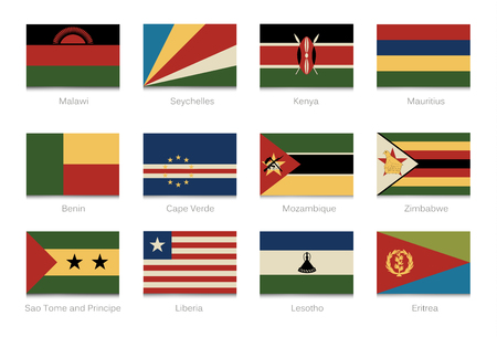 African flags with vintage colors part 4. Vector illustration.