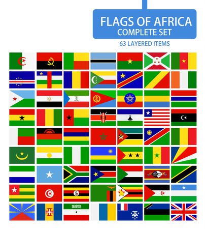 Flags of Africa Complete Set. Flag set in alphabetical order.All elements are separated in editable layers clearly labeled. Ilustrace
