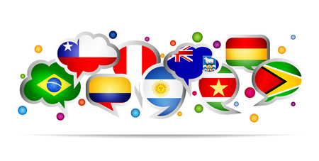 South America  countries bubble speech shapes. Set 1. Vector illustration.