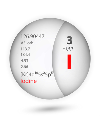 Iodine icon in badge style. Periodic table element Iodine icon. One of Chemical signs collection icon can be used for UI/UX on white background. Vecteurs