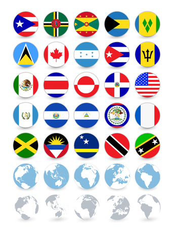 Americas flat round flags and globes.All elements are separated in editable layers clearly labeled.  イラスト・ベクター素材