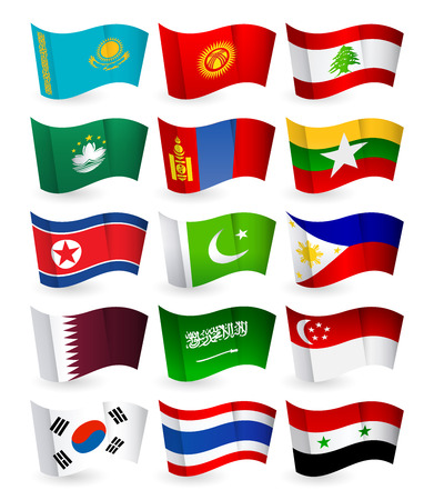 Asia country flying flags set part 2.All elements are separated in editable layers clearly labeled. Illustration