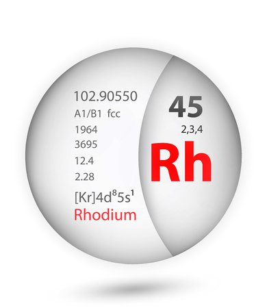 Rhodium icon in badge style. Periodic table element Rhodium icon. One of Chemical signs collection icon can be used for UI/UX on white background.