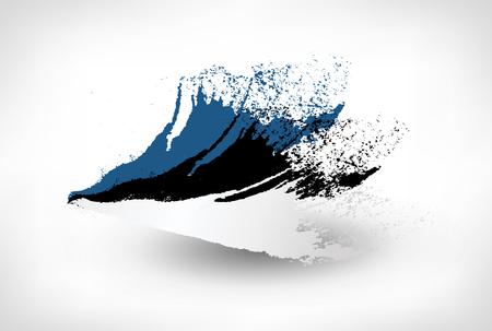 Pinsel gemalte Flagge von Estland. Handgezeichnete Stilillustration mit einem Grunge-Effekt.