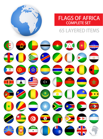 Round Glossy Flags of Africa Complete Set. Flag set in alphabetical order.All elements are separated in editable layers clearly labeled.