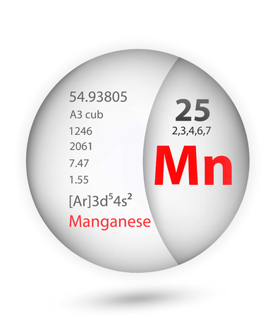 Manganese icon in badge style. Periodic table element Manganese icon. One of Chemical signs collection icon can be used for UIUX on white background.