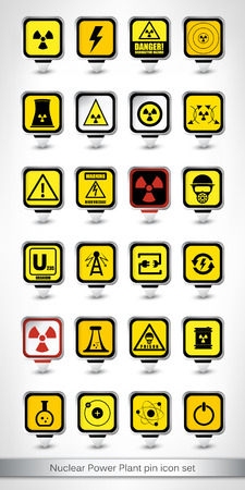 Nuclear Power Plant pin icon set. Vector illustration. Vetores