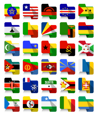 Flat Design African Waving Flags 2.All elements are separated in editable layers clearly labeled.